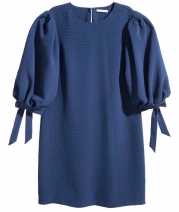 h and m blue puff sleeve