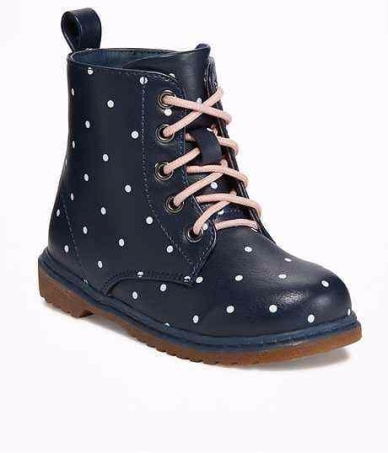 polka dot combat boot