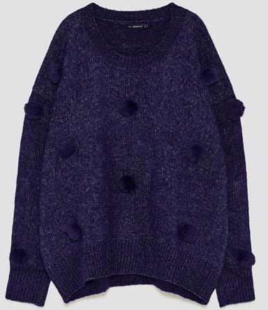 zara blue pom pom sweater
