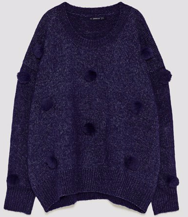 zara blue pom pom sweater