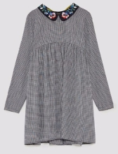 zara checked dress collar