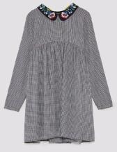 zara checked dress collar