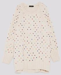 beaded white sweater zara