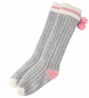 indigo pom pom socks