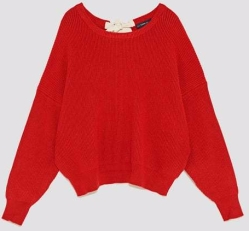red sweater with bow zara