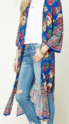 forever 21 floral longline kimono