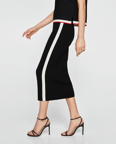 side strip black and white pencil skirt