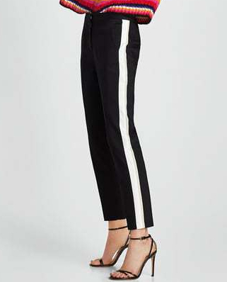 side stripe black and white pants