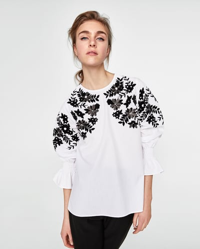 zara black and white blouse with embroidery