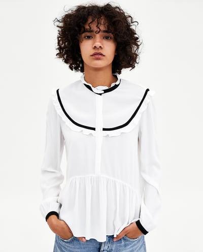 zara black and white blouse