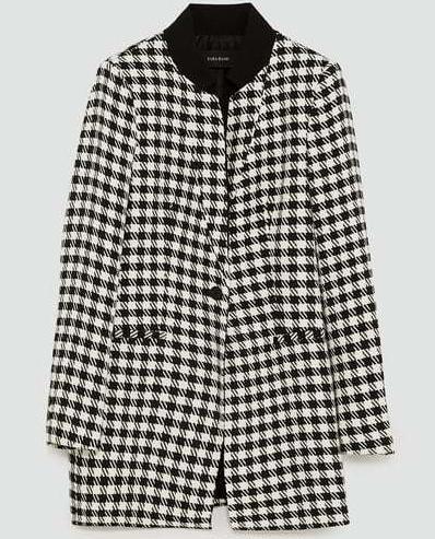 zara black and white houndstooth jacket