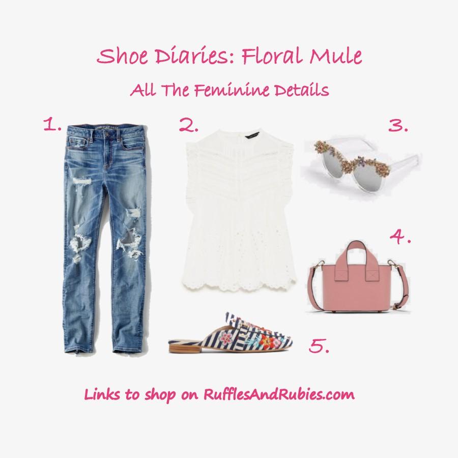 shoe diaries floral mules feminine details