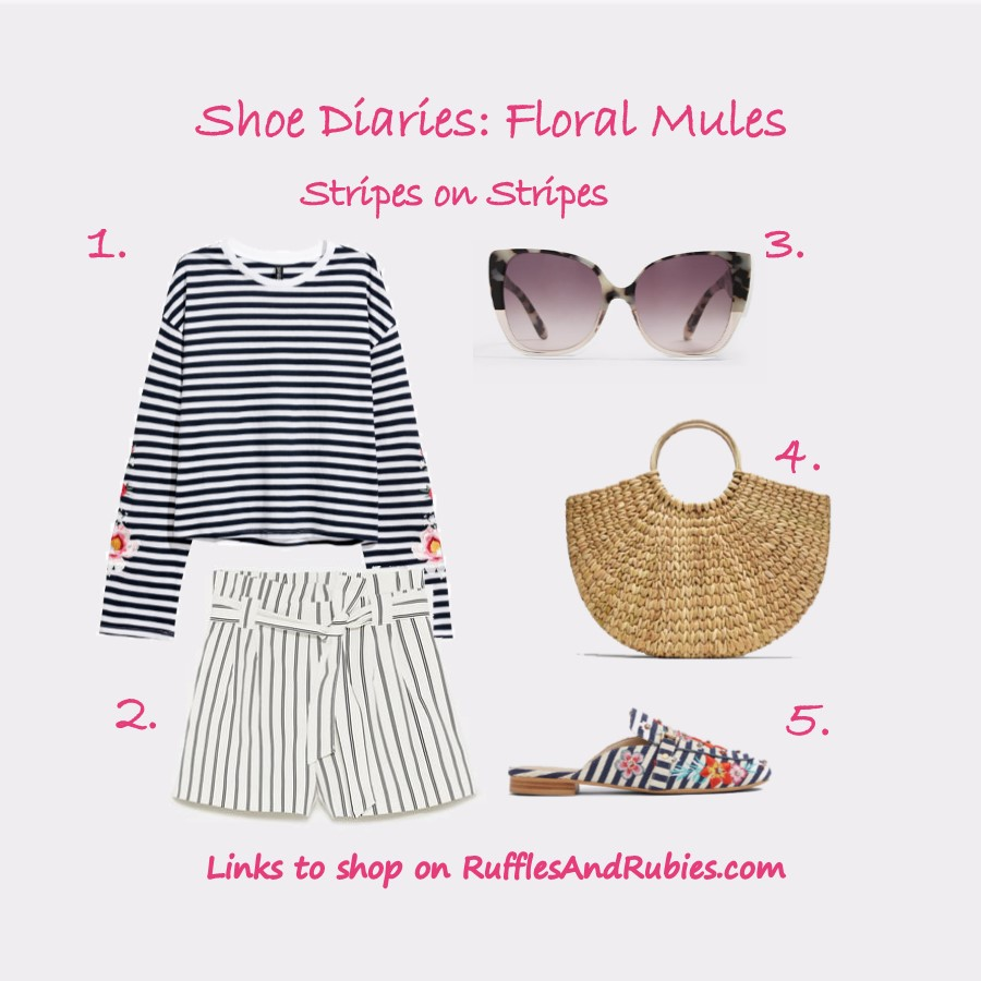 shoe diaries floral mules stripes on stripes