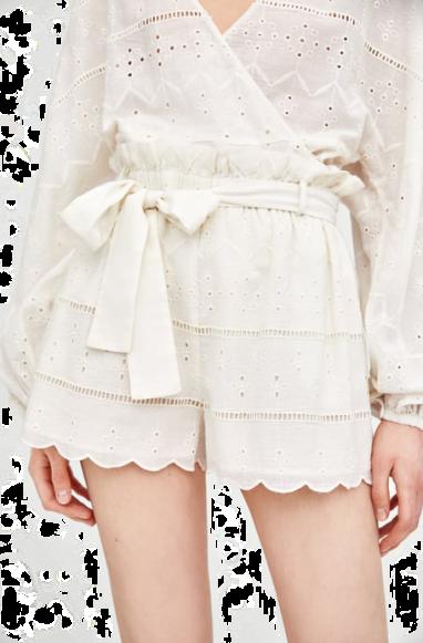 zara emroidered white shorts T