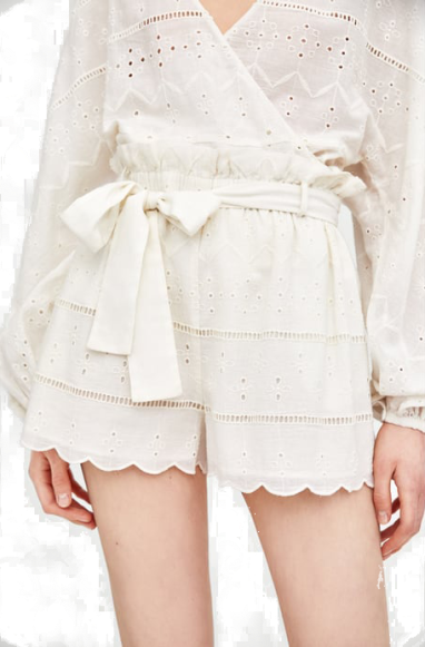 zara emroidered white shorts T