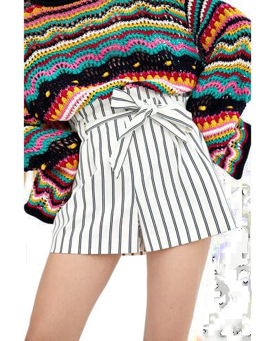 zara paper bag bermuda shorts T
