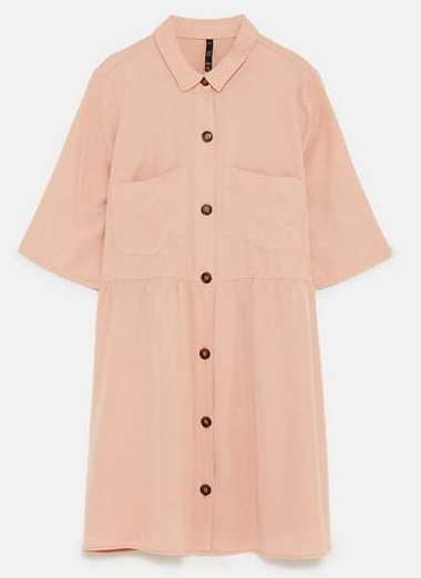 zara pink shirt dress 2
