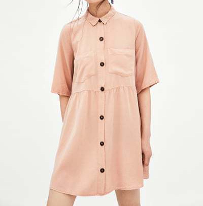 zara pink shirt dress
