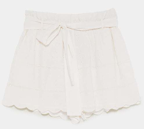 zara white embroidered shorts