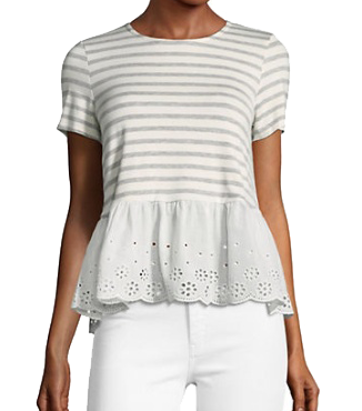 bay striped and eyelet sleeve tee
