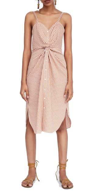 checked dress with knot zara