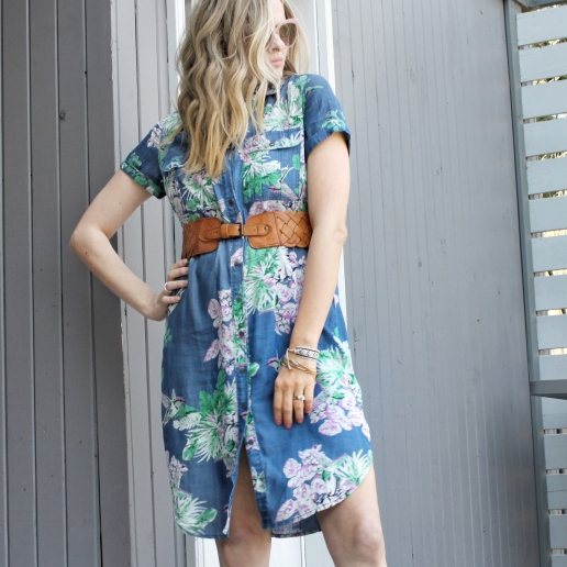 floral shirtdress and brown belt