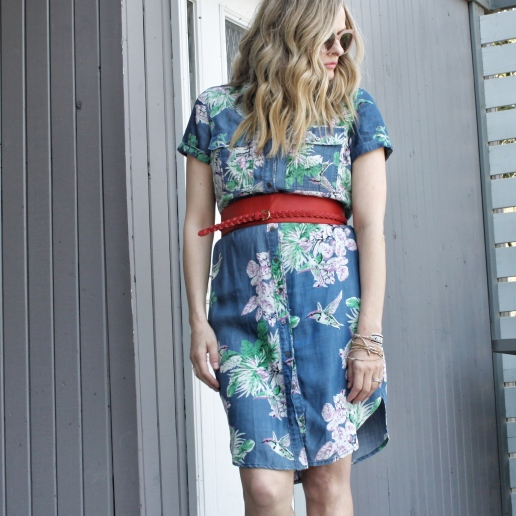 floral shirtdress and red belt