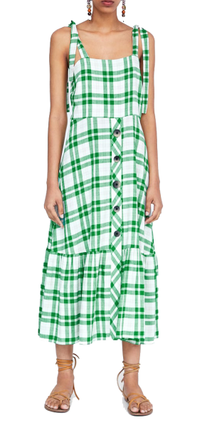 green checked dress with buttons zara