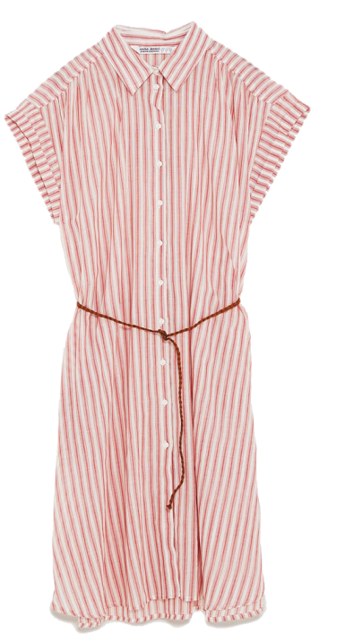 pink striped shirtdress zara