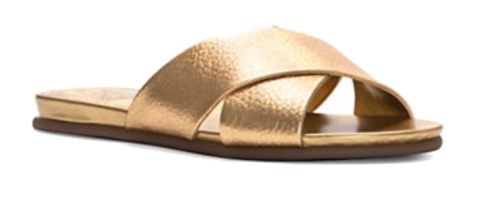 vince camuto metallic leather slides