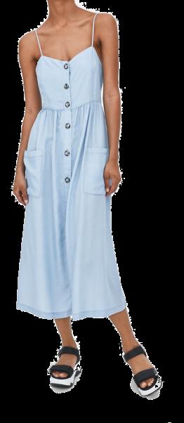 zara blue midi dress with buttons