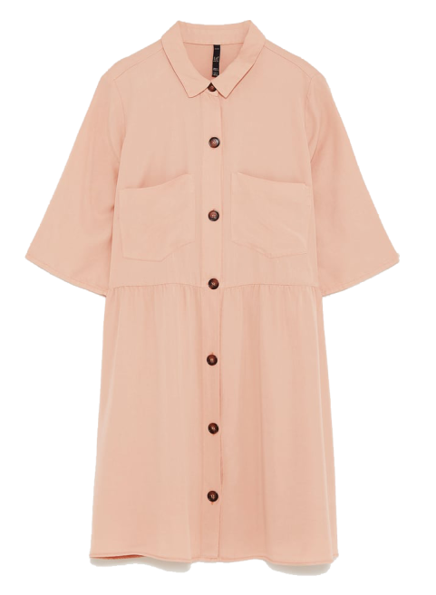 zara blush shirt dress 2
