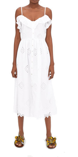 zara white embroidered dress