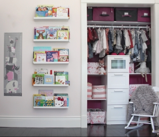Toddler Room Girls Pink Closet and IKEA Bookshelves